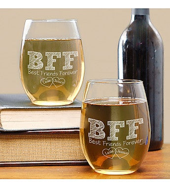 ENGRAVED BFF WINE GLASS SET
