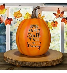 Personalized Happy Fall Yall Engraved Pumpkin