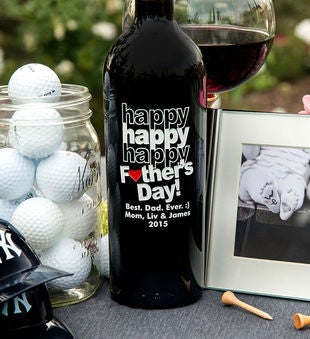 Personalized Tripple Happy Father's Day Heart Wine