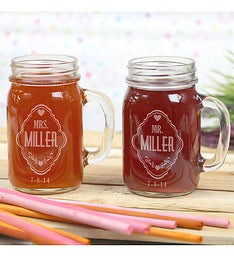 Personalized Couples Mr  Mrs Mason Jars