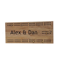 Travel 2-Track Engraved Wooden Cribbage Board