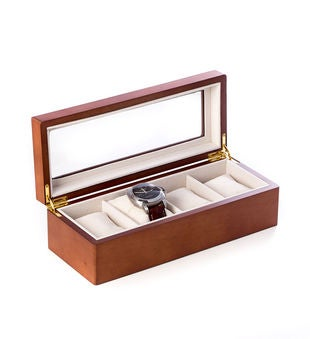 Cherry Wood 4 Watch Box with Glass Top and Velour Lining & Pillows