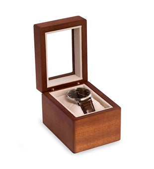 Cherry Wood Single Watch Box with Glass Top, Velour Lining & Pillow