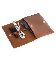 Brown Leatherette Travel Charger Case & Accessories Pouch