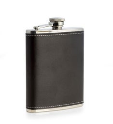 6oz Stainless Steel Black Leather Flask