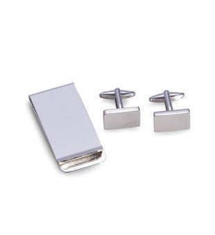 Rectangular Design Cufflinks & Money Clip Set, Silver Plated