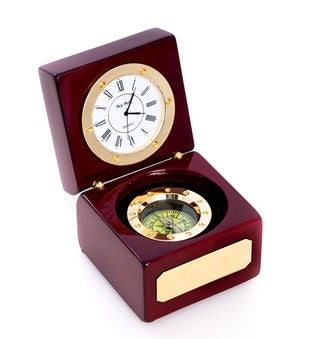 Navigator Clock w/Compass in Wood Box, T.P.