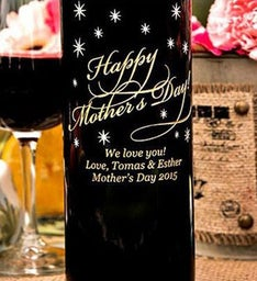 Classic Happy Mothers Day Personalized Wine Bottle