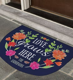 Love Grows Here Personalized Doormat