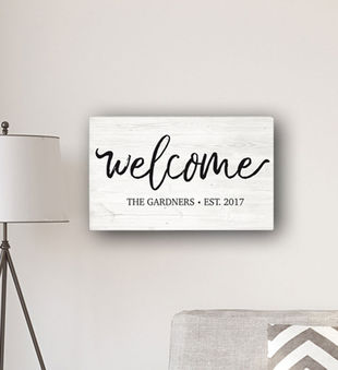 Personalized Welcome Modern Farmhouse Canvas Sign