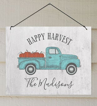 Happy Harvest Truck Personalized Wall Sign