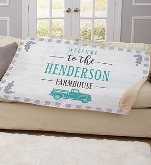 Personalized Welcome Truck Sherpa Throw Blanket