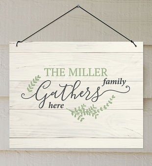 Personalized Family Gathers Wall Sign