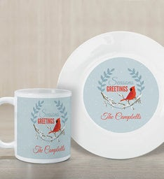 Personalized Seasons Greetings Plate And Mug Set
