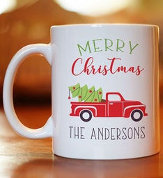 Personalized Christmas Red Truck Coffee Mug