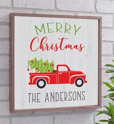 Personalized Red Truck Wood Wall Decor