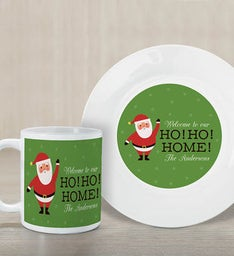Personalized Ho Ho Home Plate And Mug Set