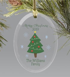 Personalized Family Christmas Tree Glass Ornament