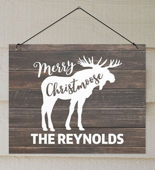 Personalized Merry Christmoose Wall Sign