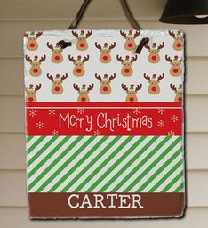 Personalized Christmas Reindeer Slate Plaque