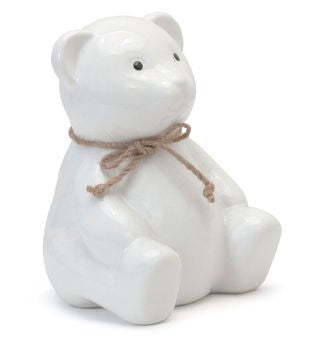Personalized Teddy White Bear Piggy Bank