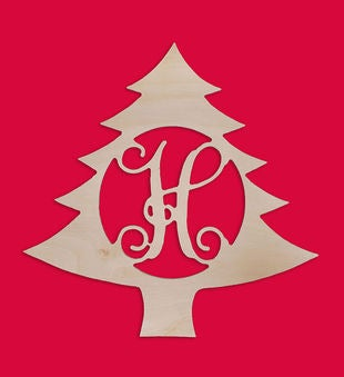Personalized Christmas Tree Wood Monogram