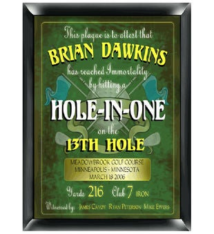 Personalized Hole In One Plaque