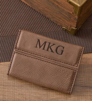 Personalized Mocha Microfiber Business Card Case
