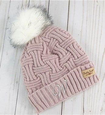 Embroidered Initial Cable Knit Blush Hat