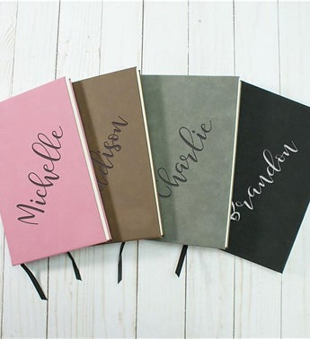 Personalized Diagonal Name Leather Journal