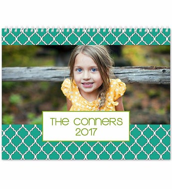 Personalized Lattice 12 Month Folded Calendar