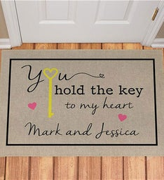 Personalized You Hold The Key To My Heart Doormat