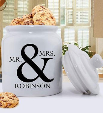 Personalized Ceramic Mr & Mrs Design Cookie Jar