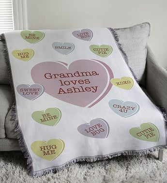 Personalized Conversation Hearts Afghan Throw