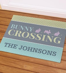 Personalized Bunny Crossing Doormat