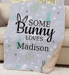Personalized Somebunny Loves Sherpa Blanket
