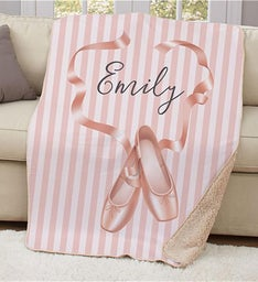 Personalized Ballet Slippers Sherpa Blanket
