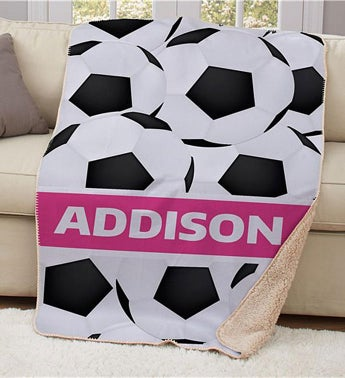 Personalized Soccer Sherpa Blanket