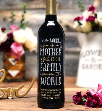 World's Greatest Mom Personalized Wine Bottle