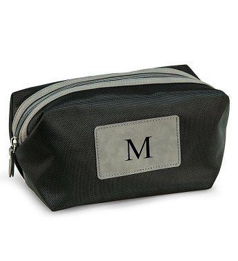 Personalized Black and Brown Dopp Kit