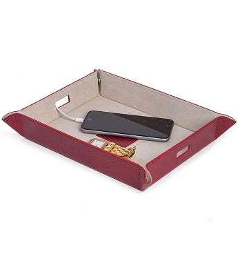 Personalized Red Leather Rectangle Valet