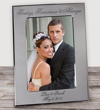 Engraved Wedding Silver Picture Frame