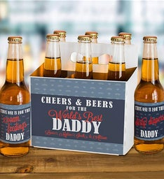 Personalized Cheers  Beers Labels and Carrier Set