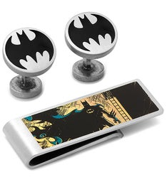 Vintage Silver Batman Cufflinks and Money Clip Set