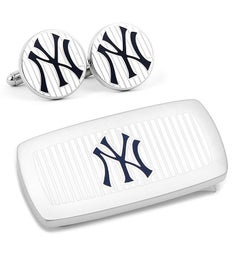 New York Yankees Pinstripe Cufflinks and Money Clip Gift Set