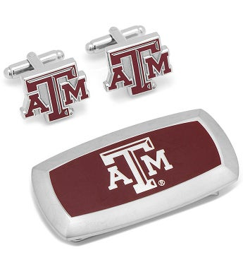 Texas A&M Aggies Cufflinks and Money Clip