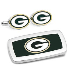 Green Bay Packers Cufflinks and Cushion Money Clip