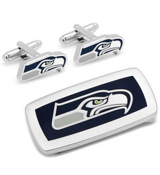 Seattle Seahawks Cufflinks and Money Clip Gift