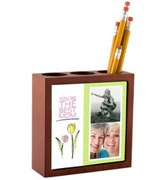 Personalized Tulips Photo Mahogany Desk Organizer
