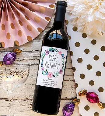 Personalized Peony Wreath Birthday! Labeled Wine